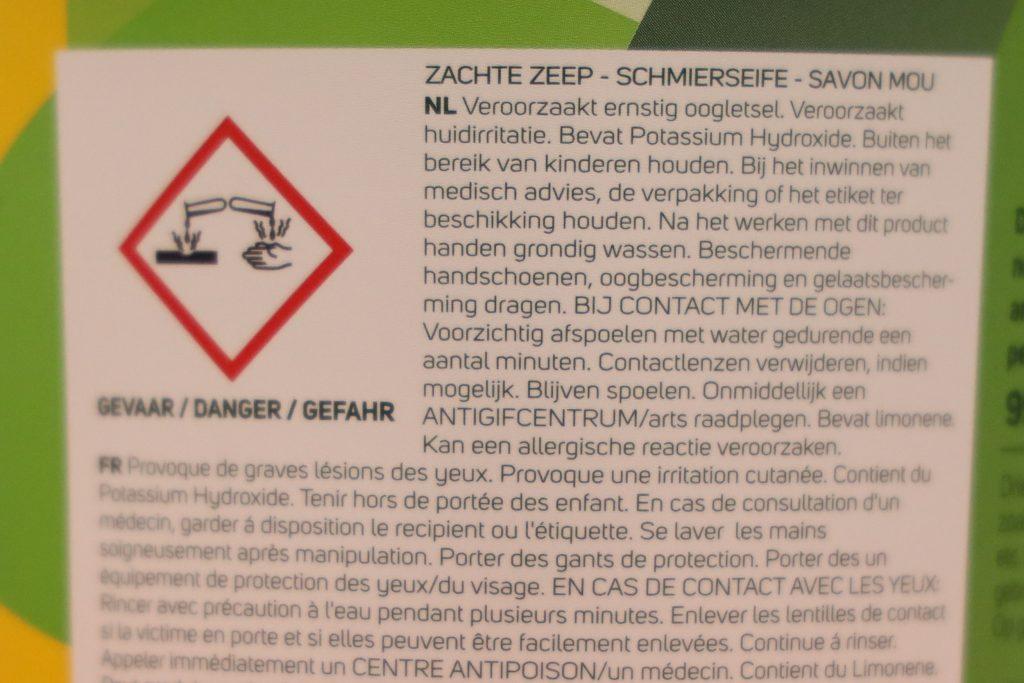 veiligheidsinformatie groene zeep